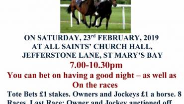 Race Night  Saturday 23rd February 7pm  St Marys Bay Hall