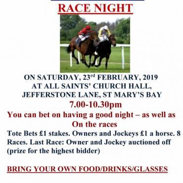 Race Night  Saturday 23rd February 7pm  St Marys Bay Hall